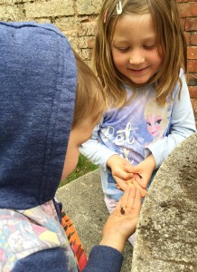 Someone was a bit scared to hold the 'wild worms' we'd found, so little bro was very kind and reassuring and coached her through it! :D