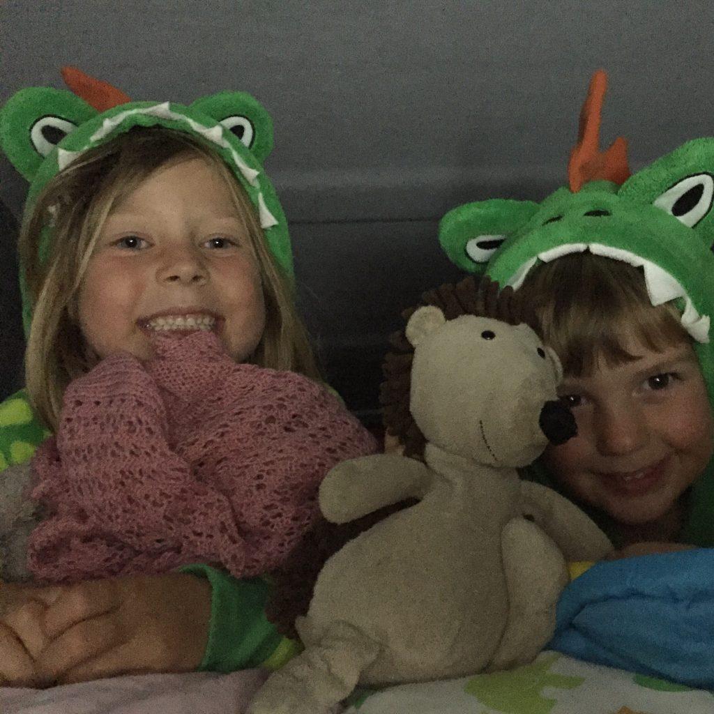 My two children in their dinosaur onesies in the van demonstrating that onesies make good Christmas camping gifts for campervan kids.