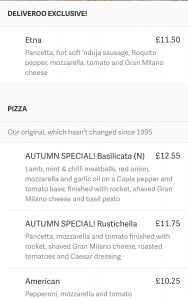 Screen shot of the deliveroo app showing the pizza express menu and the Etna Pizza description.