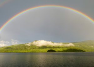 Postnatal depression is a storm, the rainbow means it's almost over.