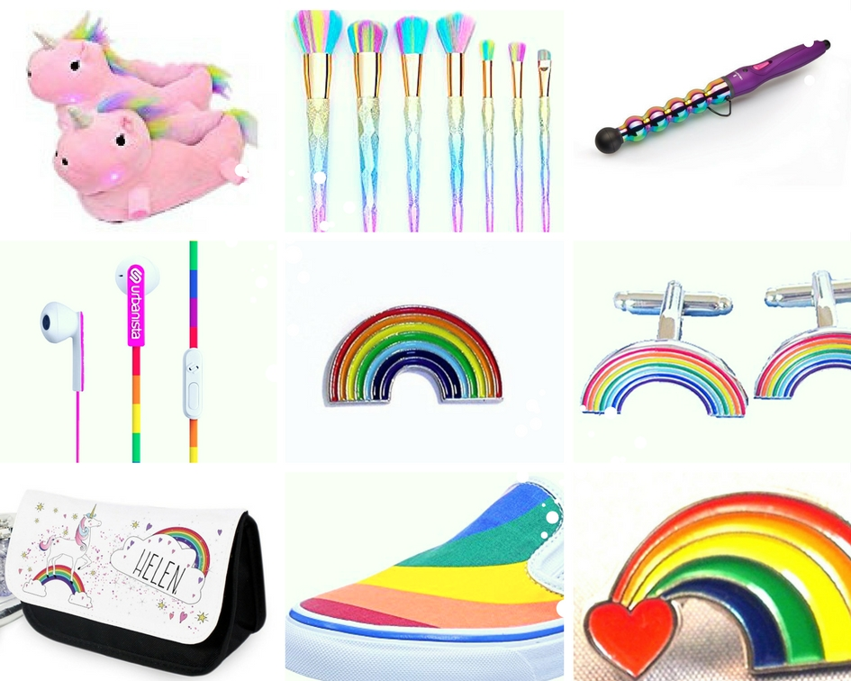A rainbow lover gift guide collage of products on amazon with a rainbow theme under the fashion and beauty category.