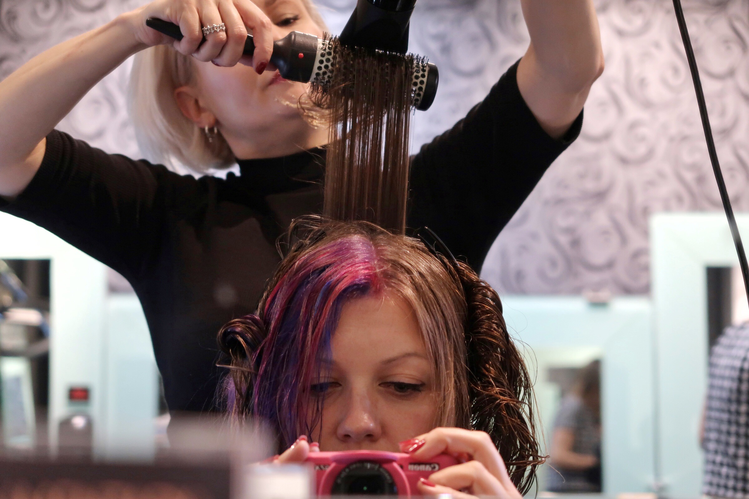 Another mirror shot with my stylist Tash drying my hair with some round brushes in a very fancy way!