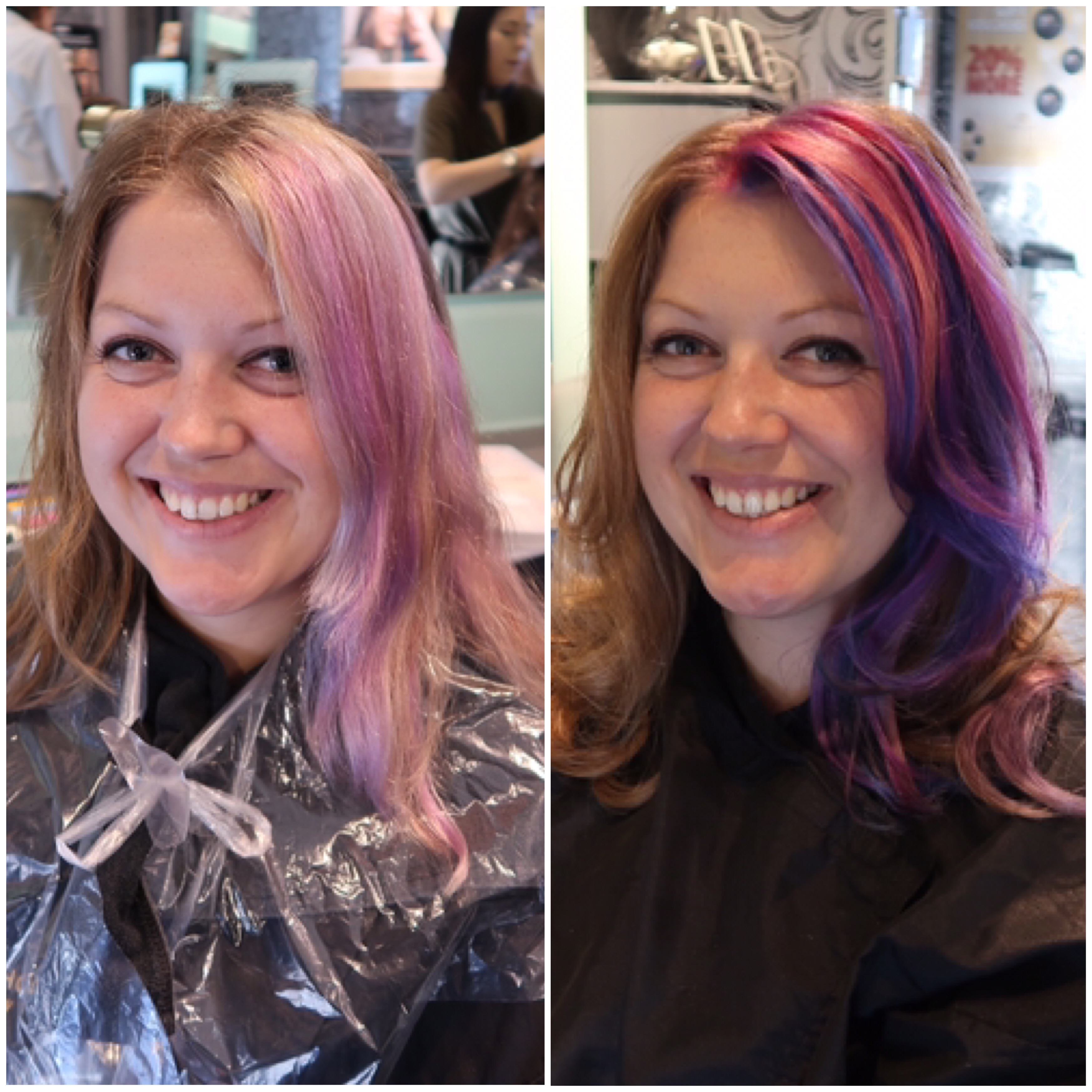 A before and after of my hair, the before being drab and shapeless with faded purpley/pink on one side and the after photo with very bright pink, purple and dark blue colour and big bouncy curls. Stuart Holmes Salon.