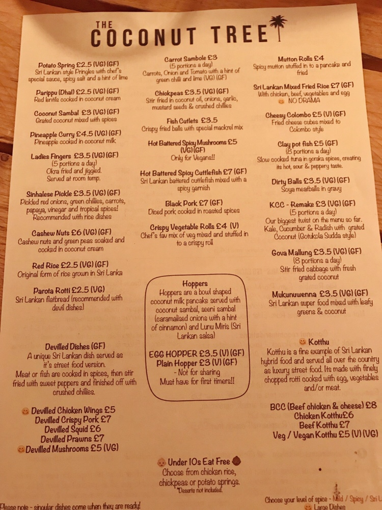 The extensive menu at the Coconut Tree Cheltenham with so many vegan options!