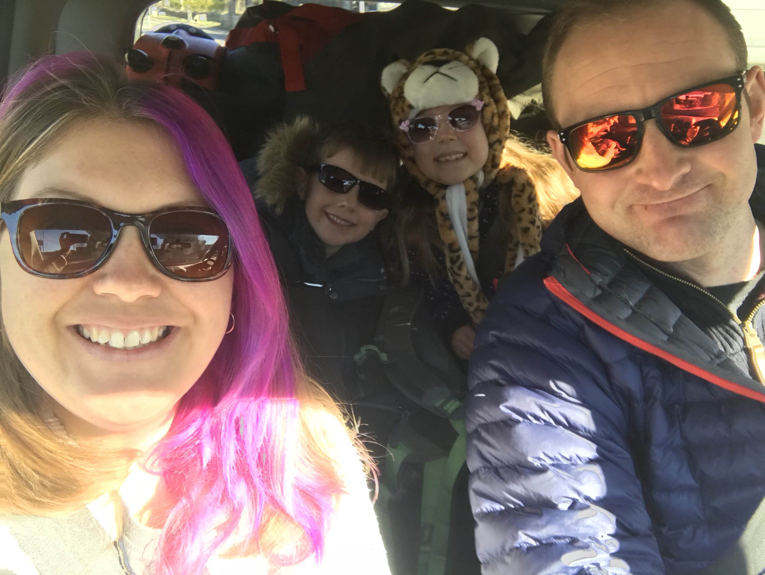 Family Pink Pear Bear off on a road trip in our camper van Wilma with woolly hats and sunnies on, all smiling at the same time for once!