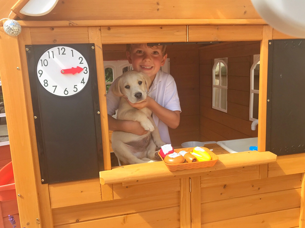 A very sweet photo of my son in the window of the cafe in the Stoney Creek Playhouse from KidKraft. He's smiling and holding our new puppy.