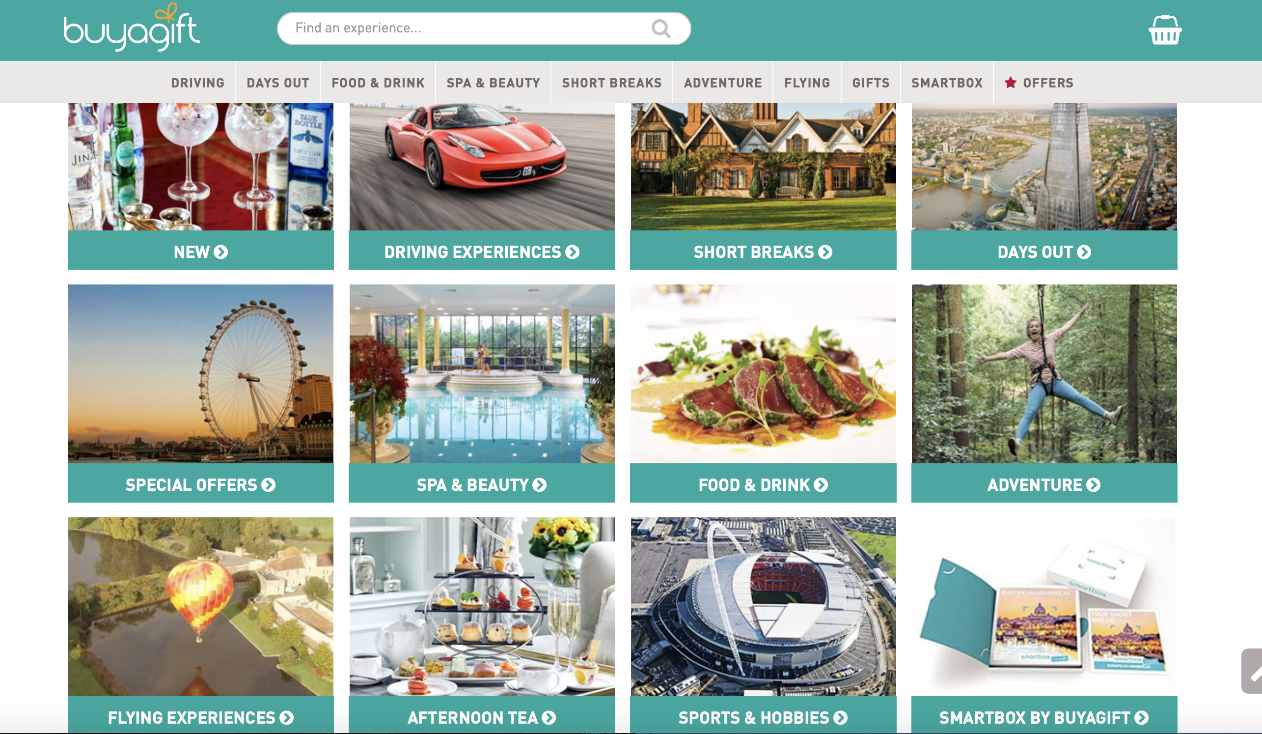 A screenshot of the buyagift website with all the categories displayed.