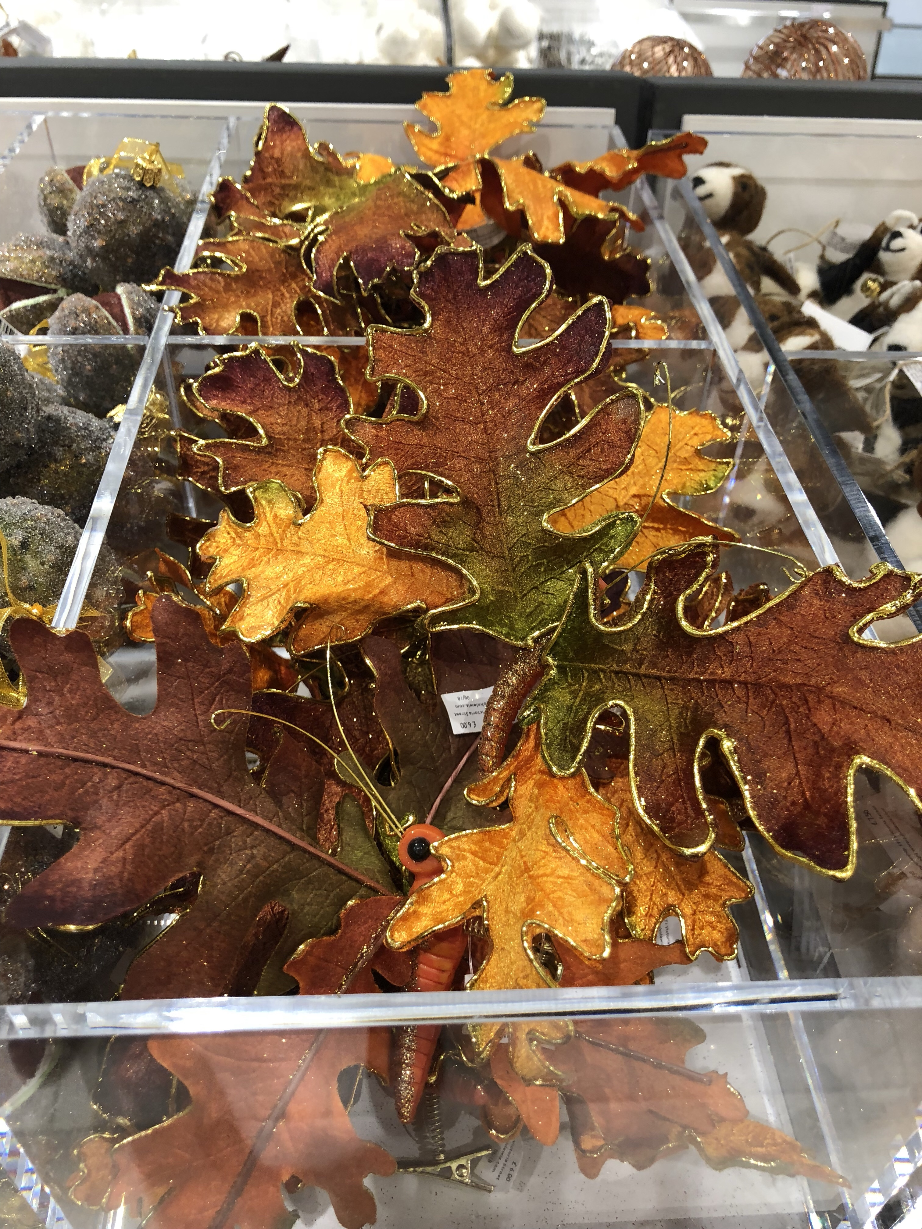 Beautiful bronze and gold Autumn leaves Christmas decorations at John Lewis Cheltenham