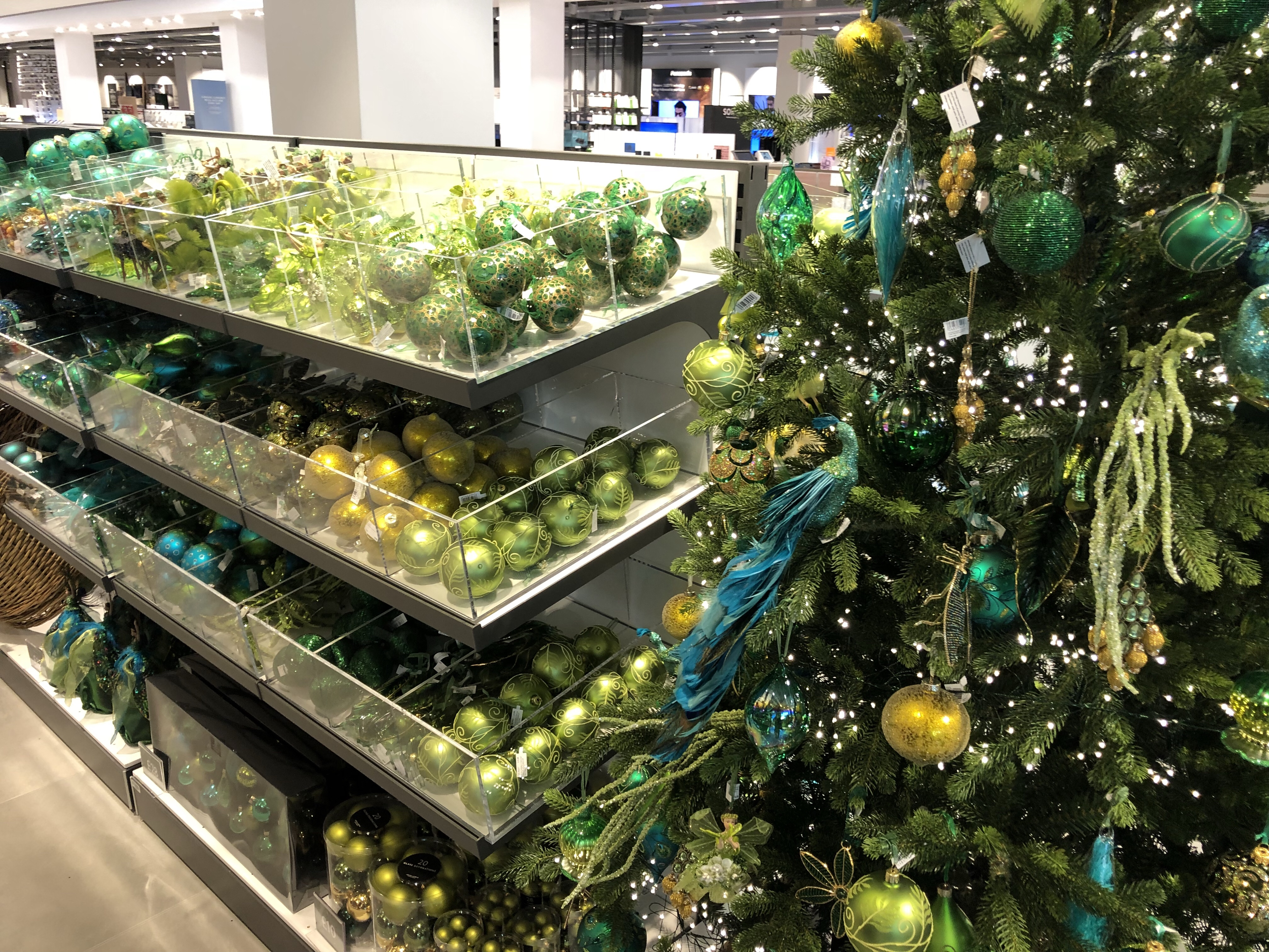 Stunning green and blue Christmas decoration displays at John Lewis Cheltenham