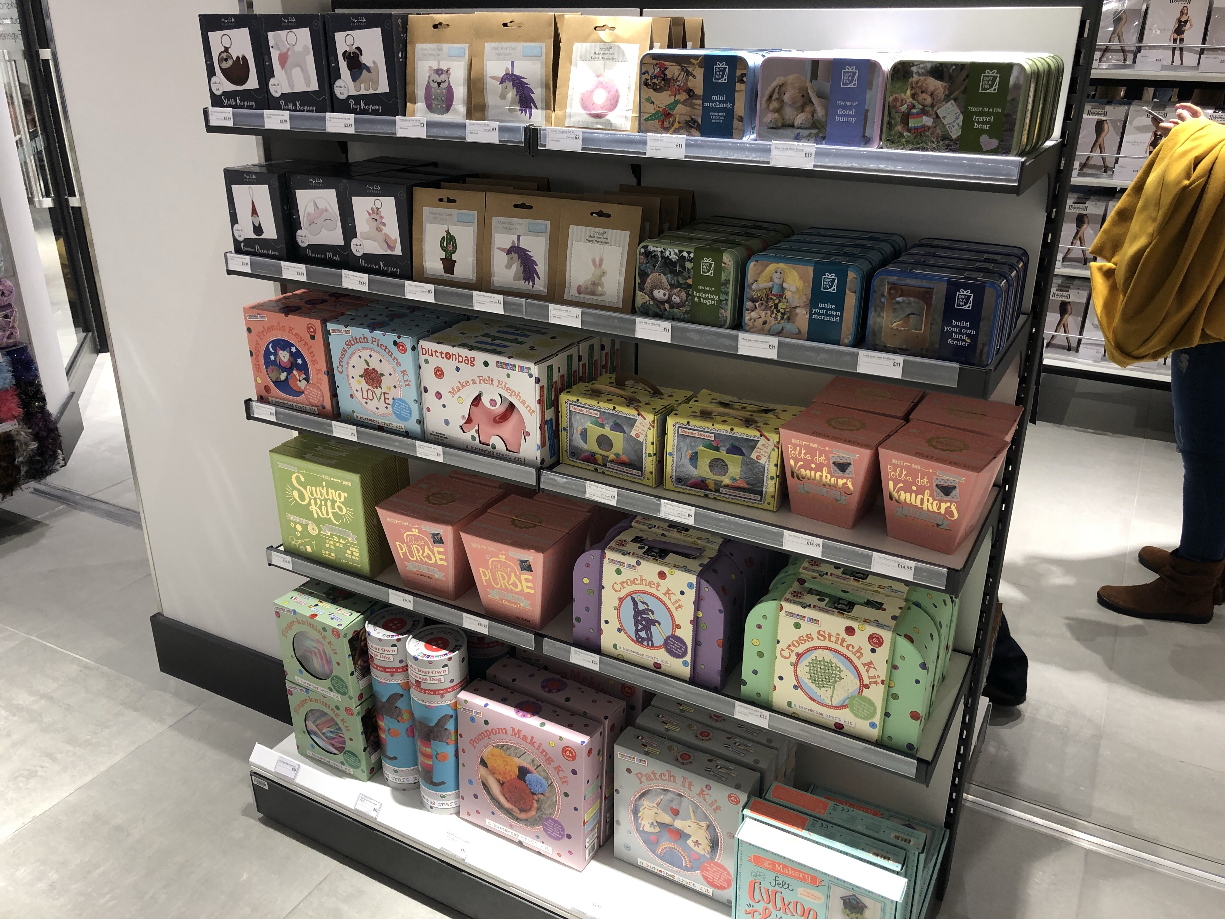 Selection of gorgeous craft kits for sale inn the John Lewis Cheltenham haberdashery