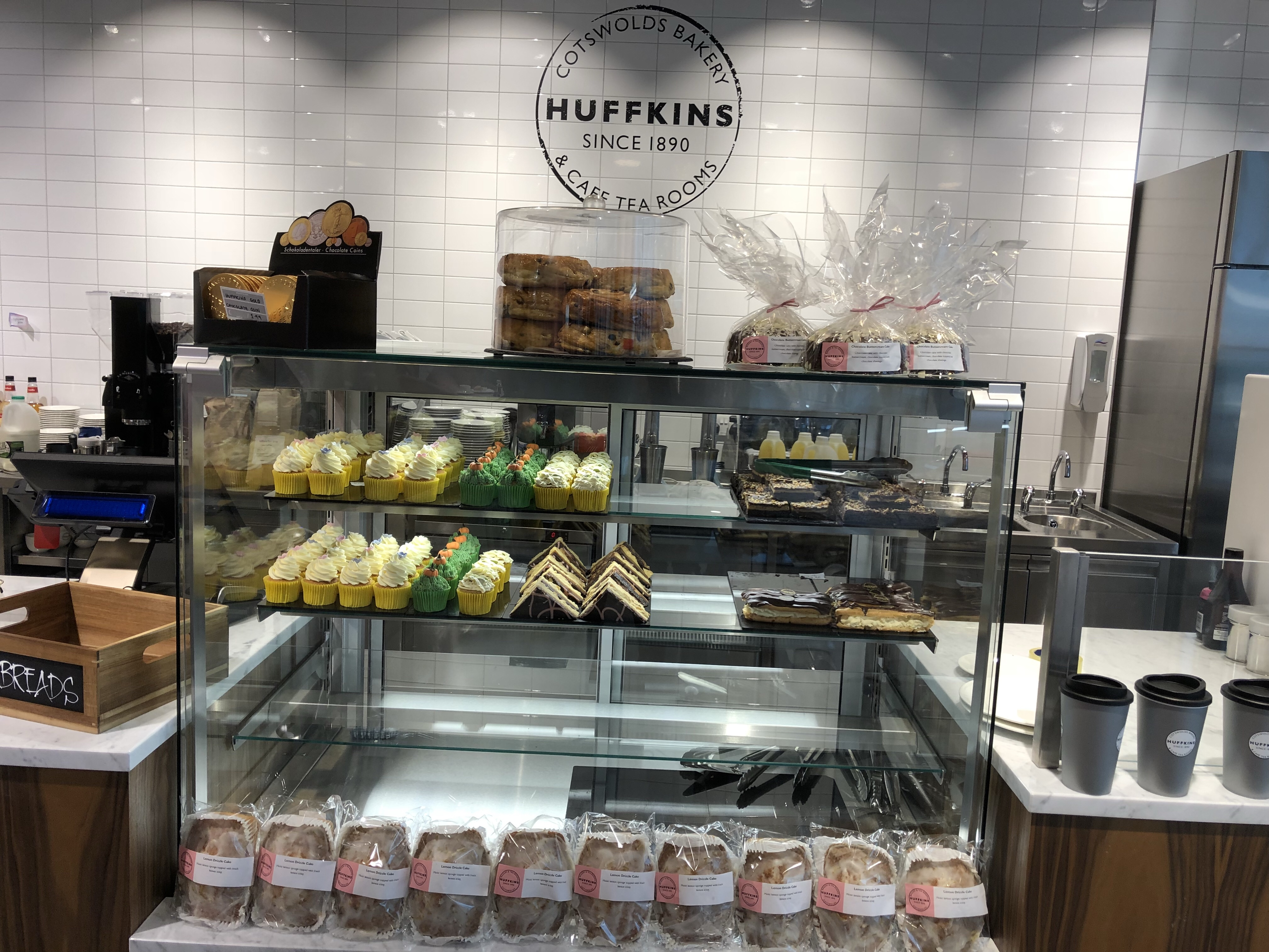 Lots of delicious looking cakes on the Huffkins bakery stand at John Lewis Cheltenham