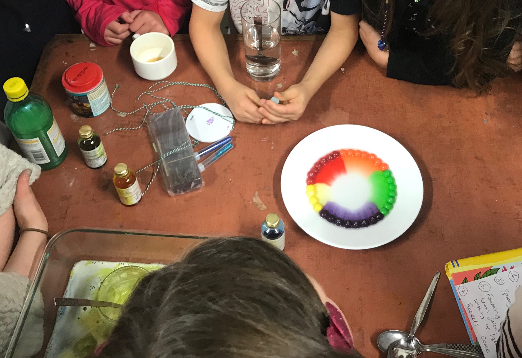 A skittles experiment with a plate of skittle sweets leaking brightly coloured dye into the centre of the plate. Science Birthday Party Ideas