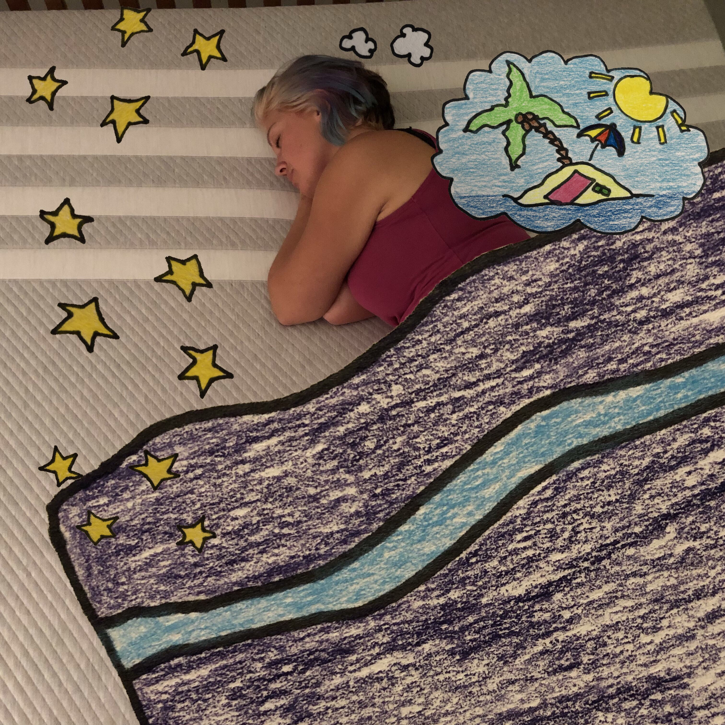 A photo of me pretending to be asleep on our new Leesa Mattress with a hand drawn duvet and a dream cloud of a tropical island over laid.