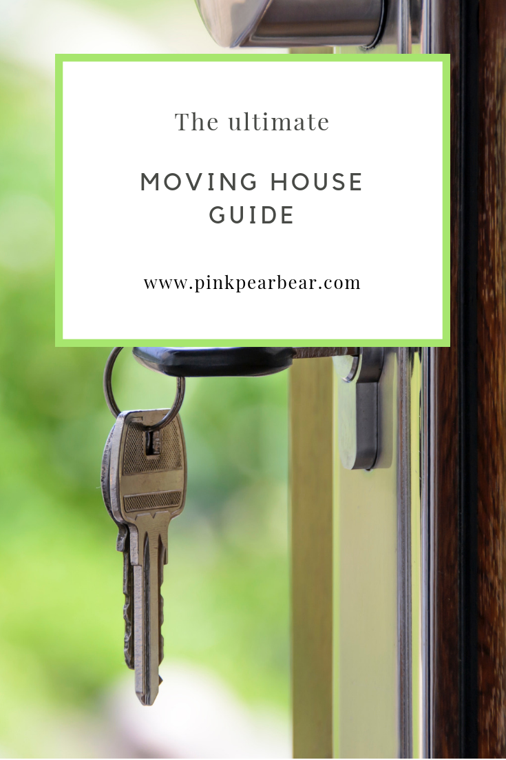 A pinnable image of some keys hanging in a door and text overlaid reading: the ultimate moving house guide.