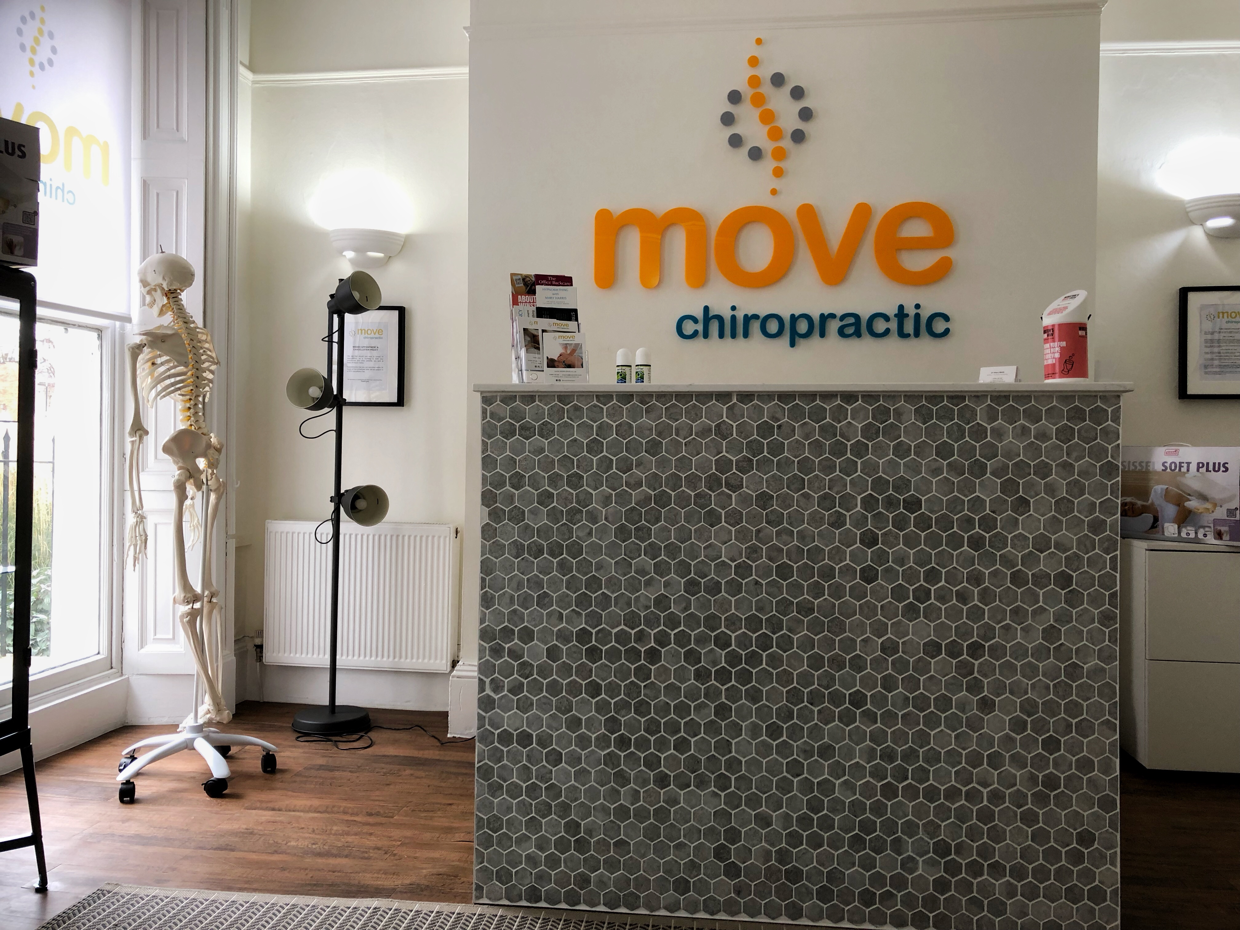 The attractive reception and waiting room at Move Chiropractic in Cheltenham.