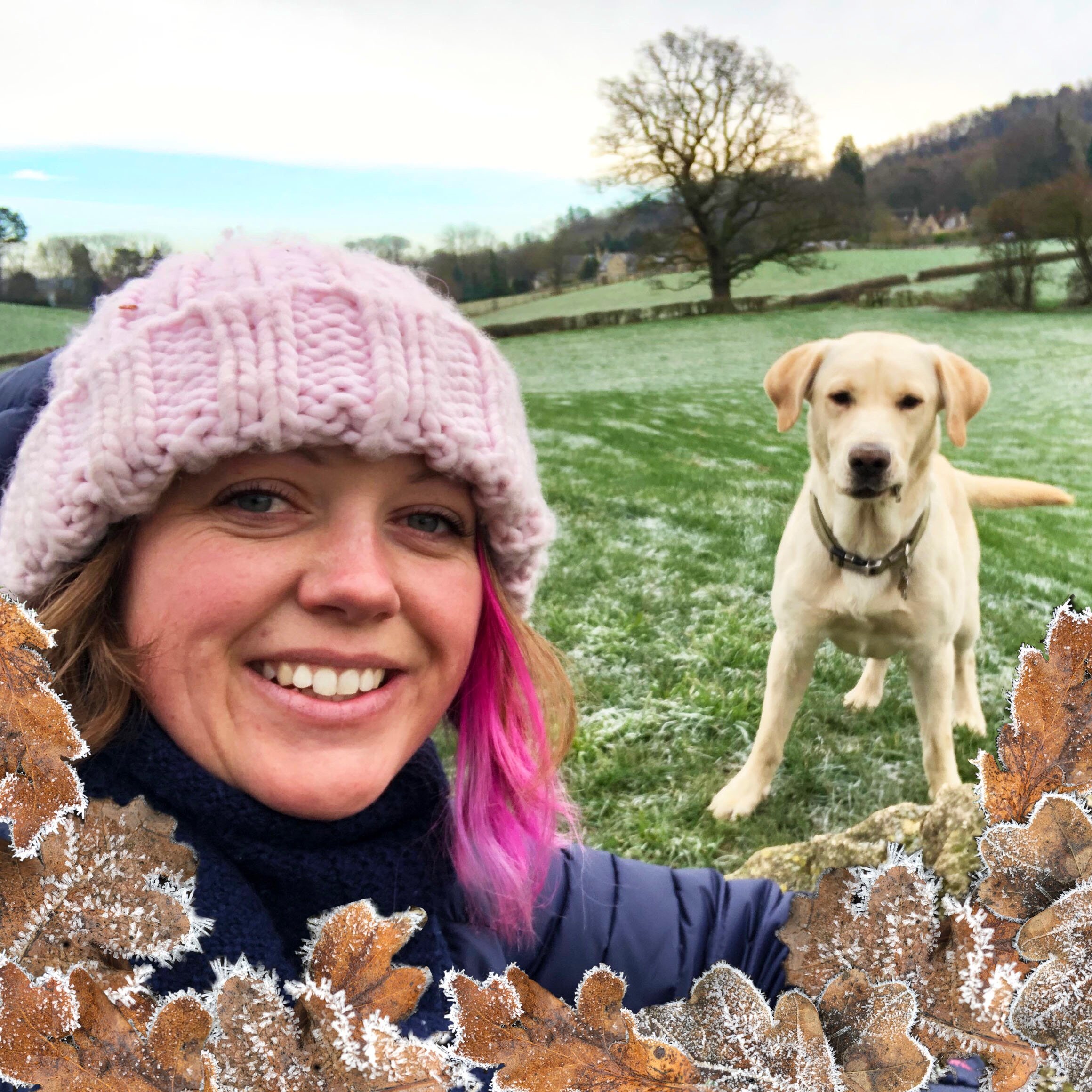 The same photo as the previous one with me and Hendrix but using the techniques I learnt on the photography course, I added photos of the frosty leaves I had taken that day to make a pretty border.