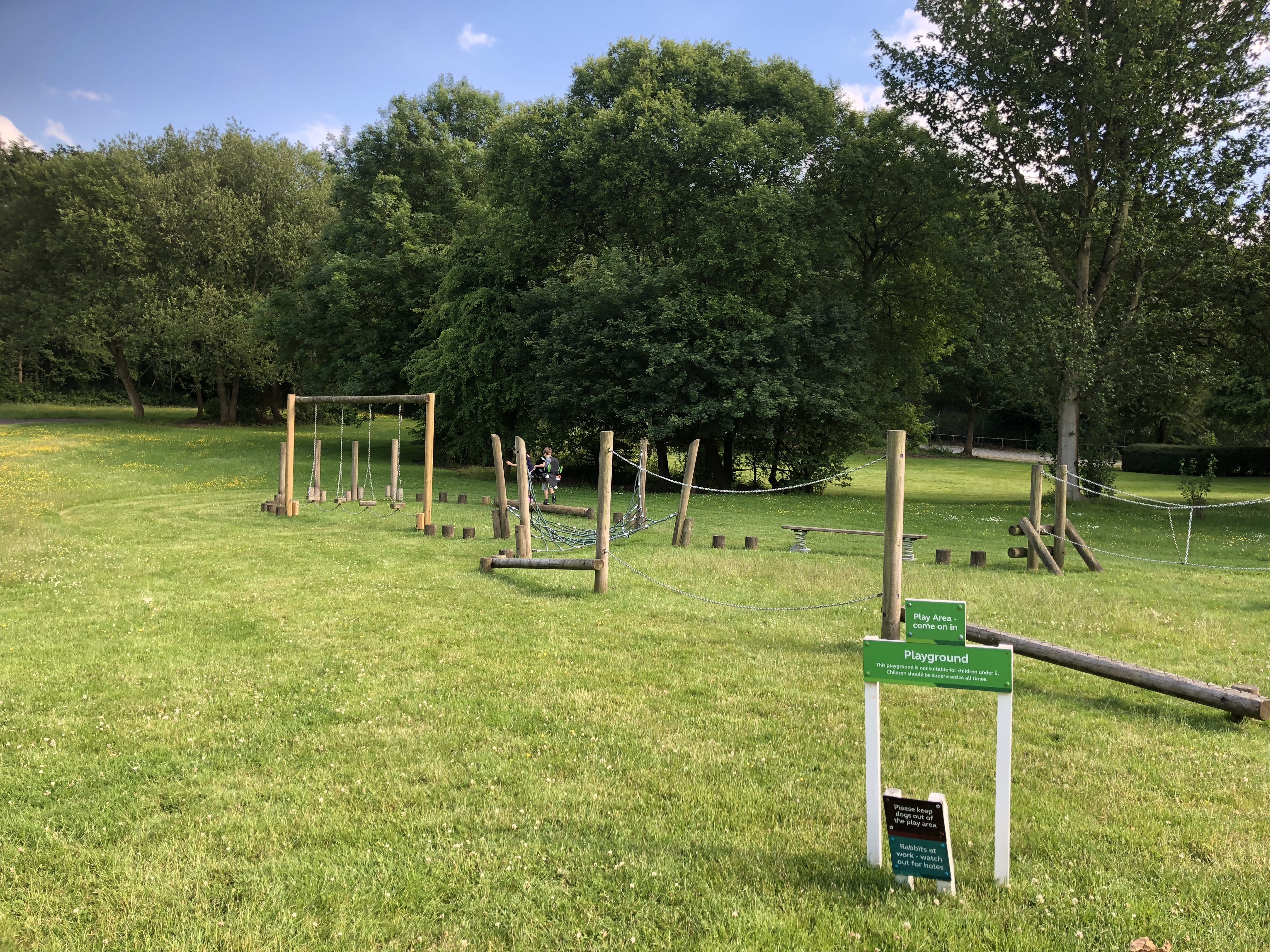 The lovely wooden play area at Alderstead Heath, a Caravan and Motorhome Club site in Surrey.