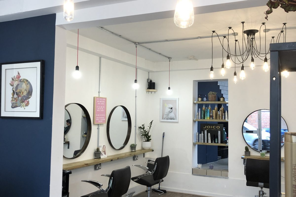 The beautiful interior of the Hiley Hair Club in Cheltenham