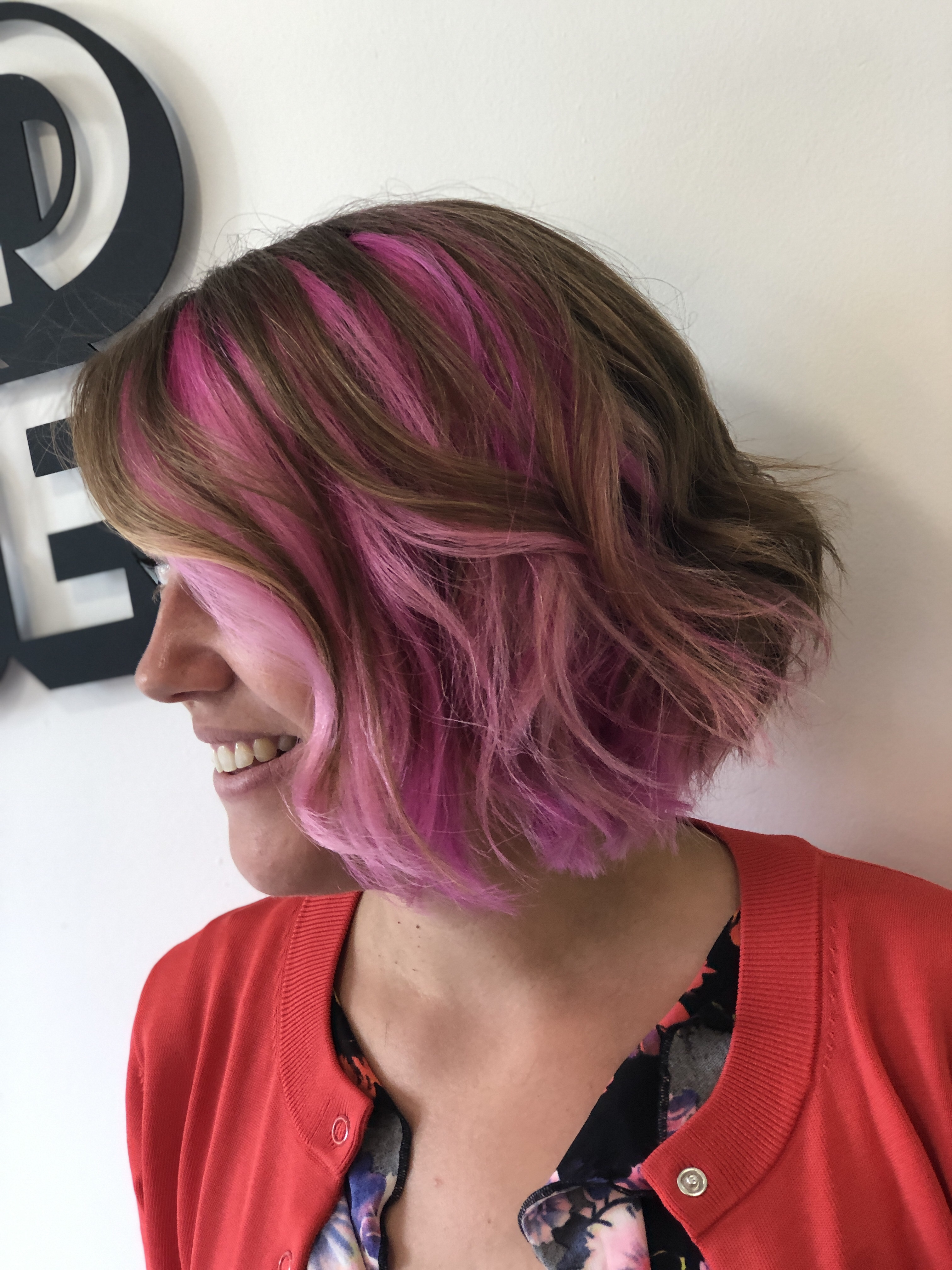 An after photo of my lovely hair do with the pink showing through the layers thanks to Hiley Hair Club in Cheltenham.
