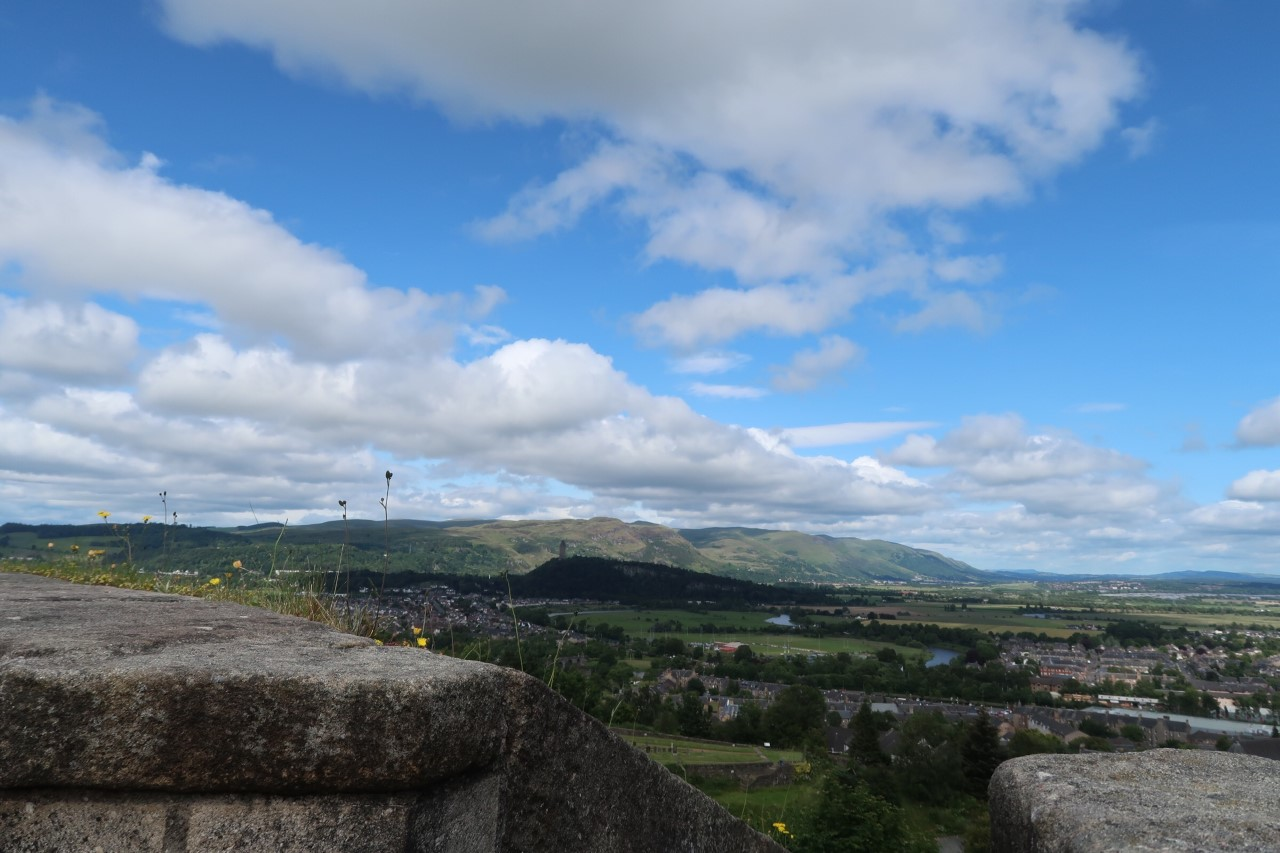 Stunning views from Stirling Castle of the Ochil Hills where the Highland Spring water is bottled at source.
