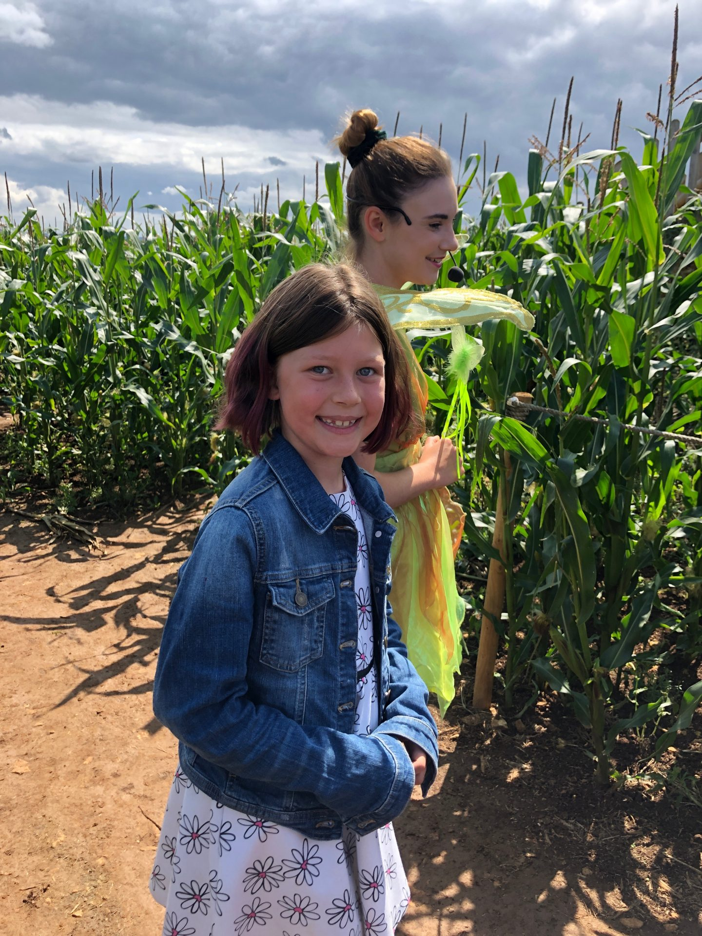 My lovely girl proudly helping Tinkerbell in the quest to defeat the mean Captain Hook in the live action pantomime style show in the maize maze at the Cotswold Farm Park.