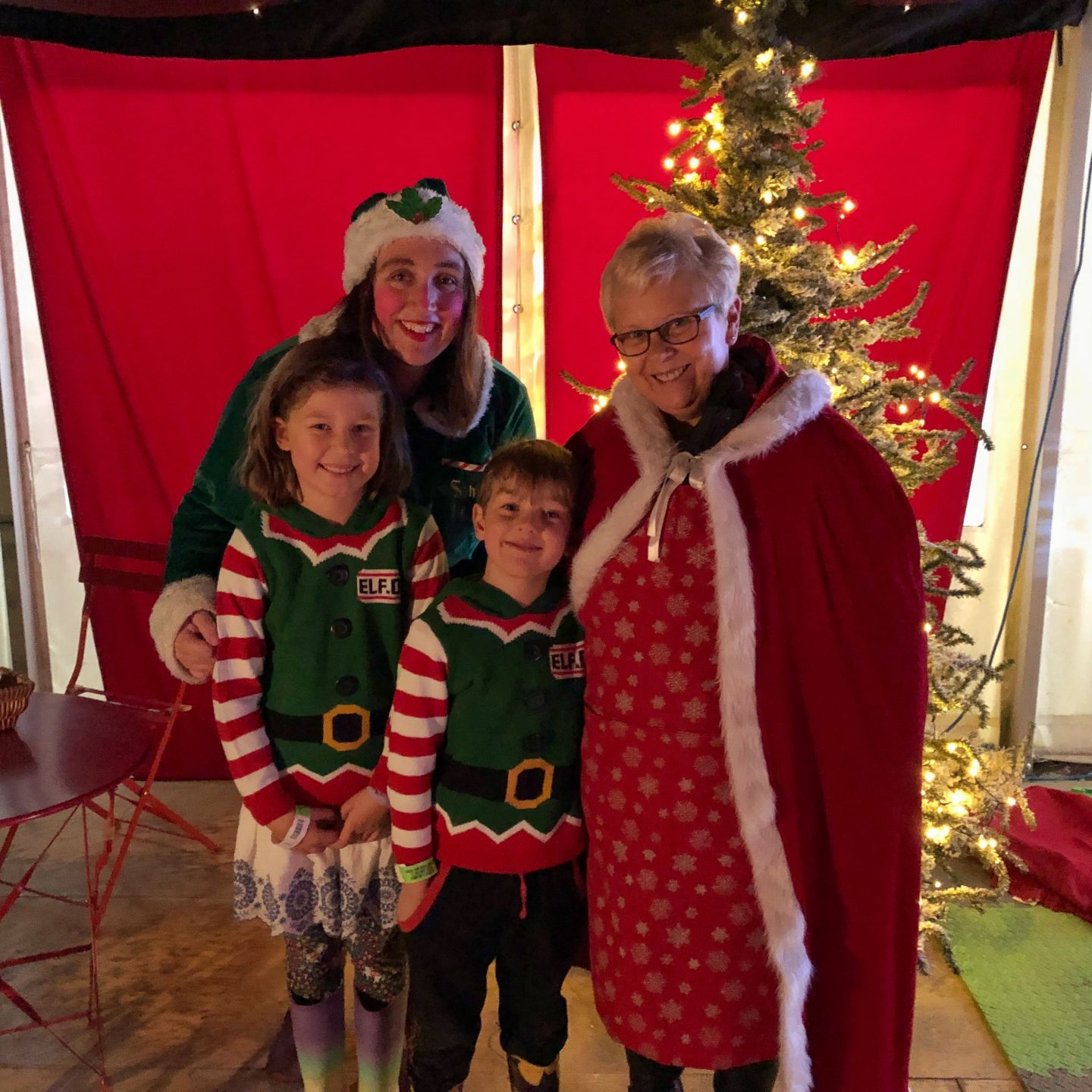 A photo of my two children in their elf jumpers standing with Mrs Christmas with an elf as they wait to see Father Christmas at the Cotswold Farm Park.