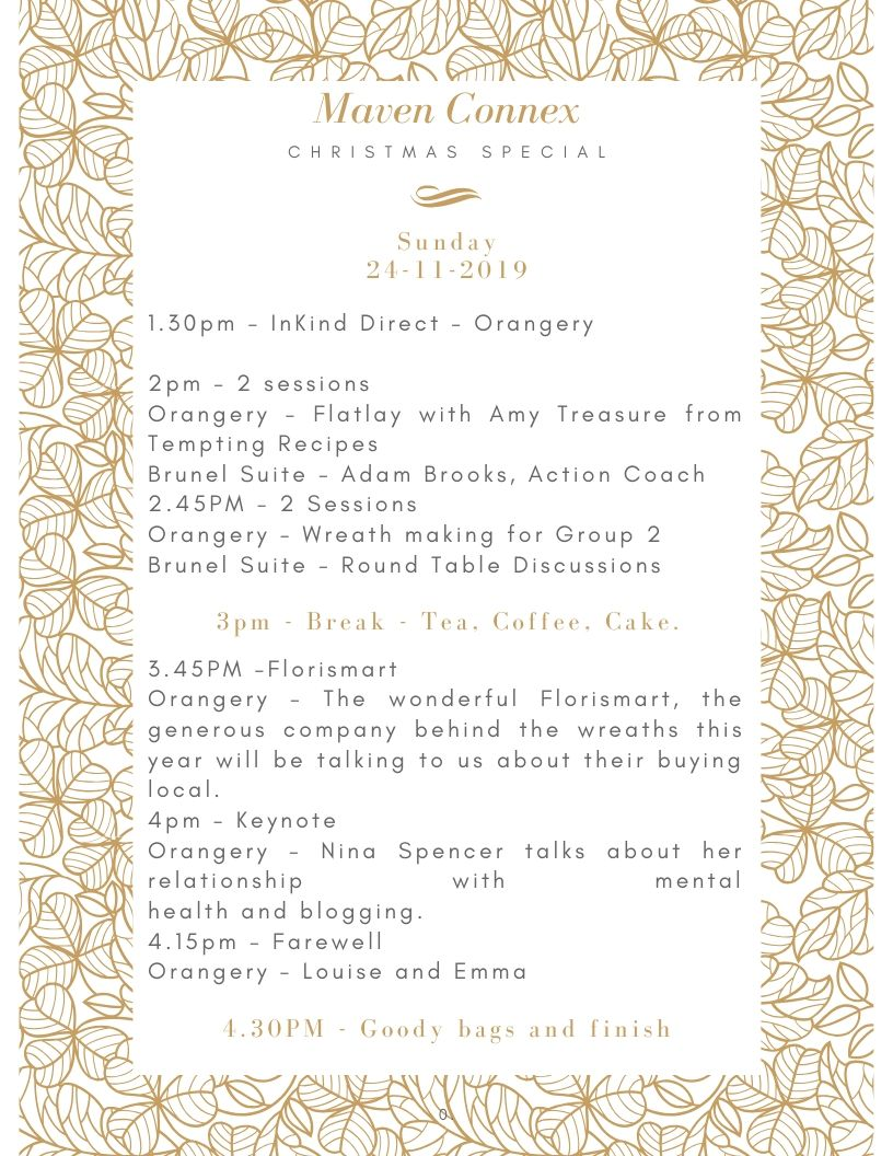 The schedule of the day for our blogger event in South Gloucestershire in November.