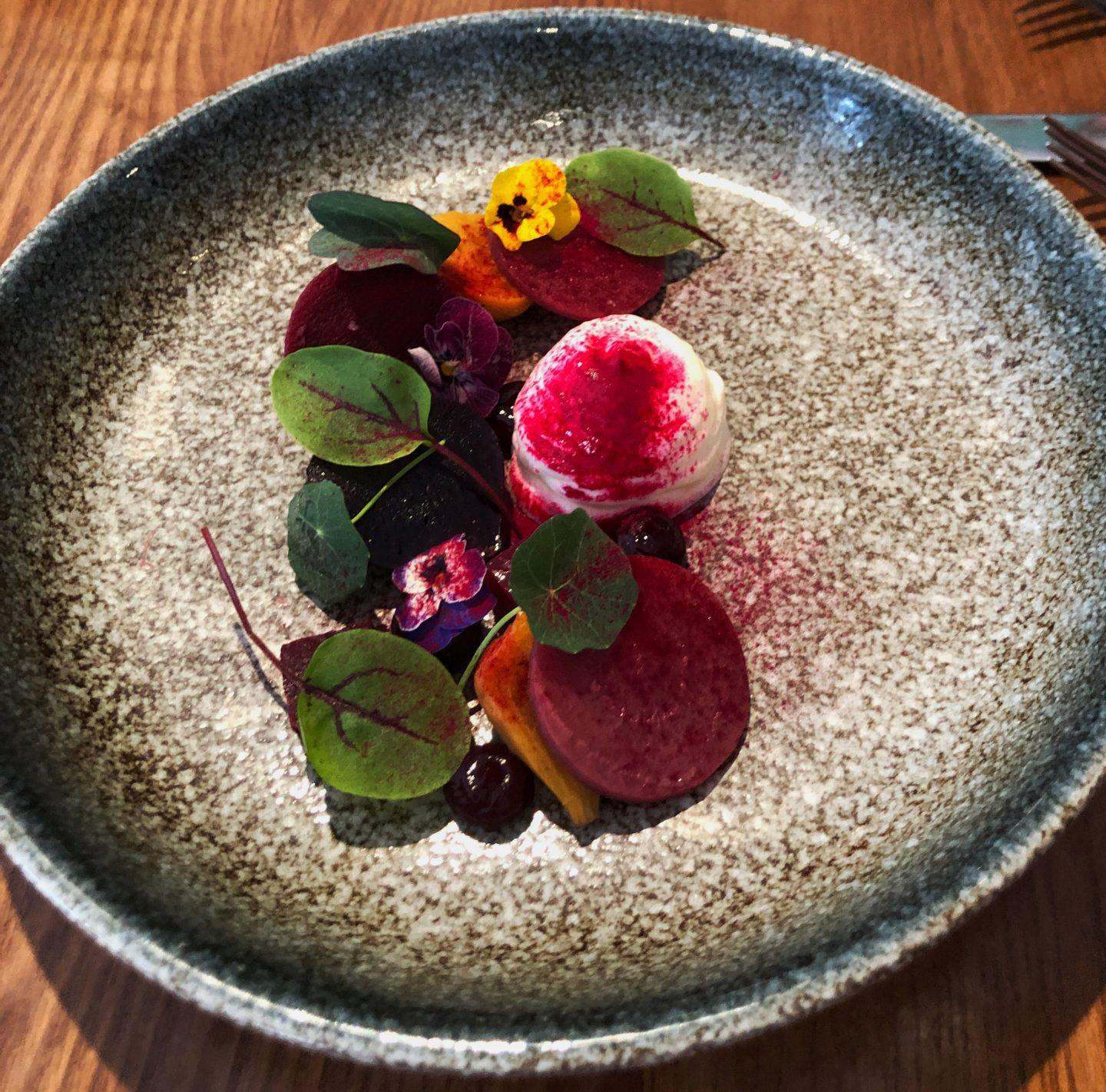 A delicious beetroot and goat's cheese started prepared by chef Marc Payne at our seven course taster menu at The Curious Kitchen at Aztec Spa Hotel in Bristol.