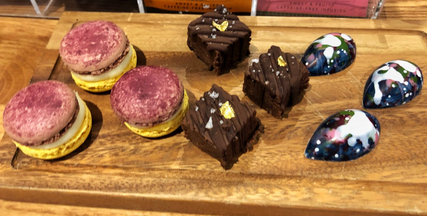 A delicious selection of bright and colourful petit fours from our seven course taster lunch at The Curious Kitchen at Aztec Spa Hotel in Bristol.