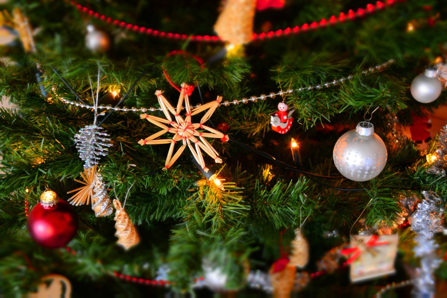 Stock image of a close up Christmas tree to promote our Christmas event for bloggers in South Gloucestershire.