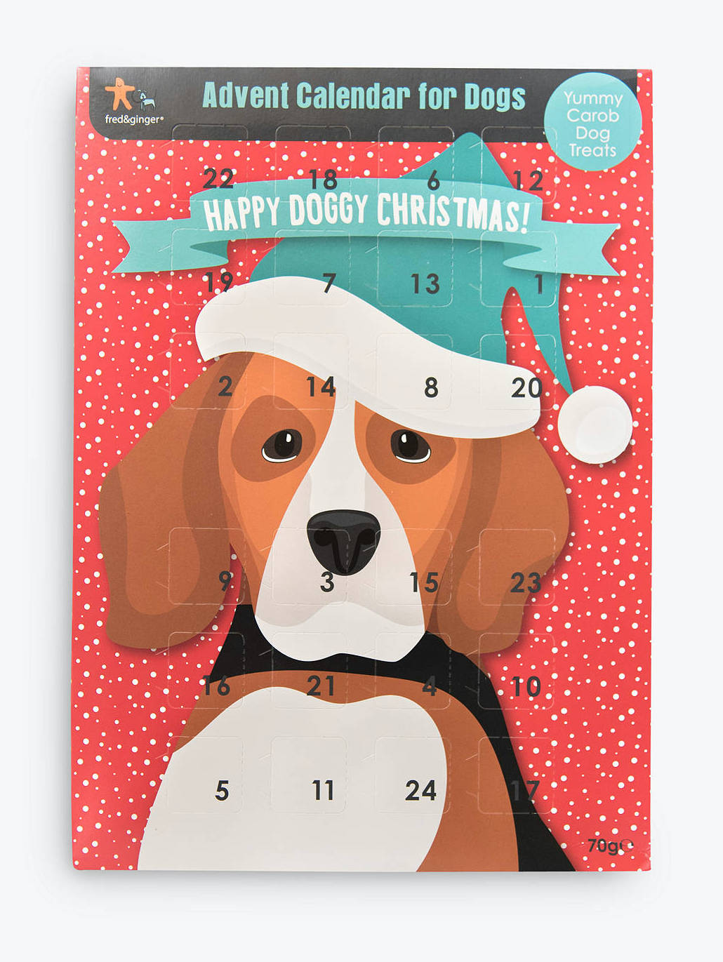 Stock image of a doggy advent calendar.