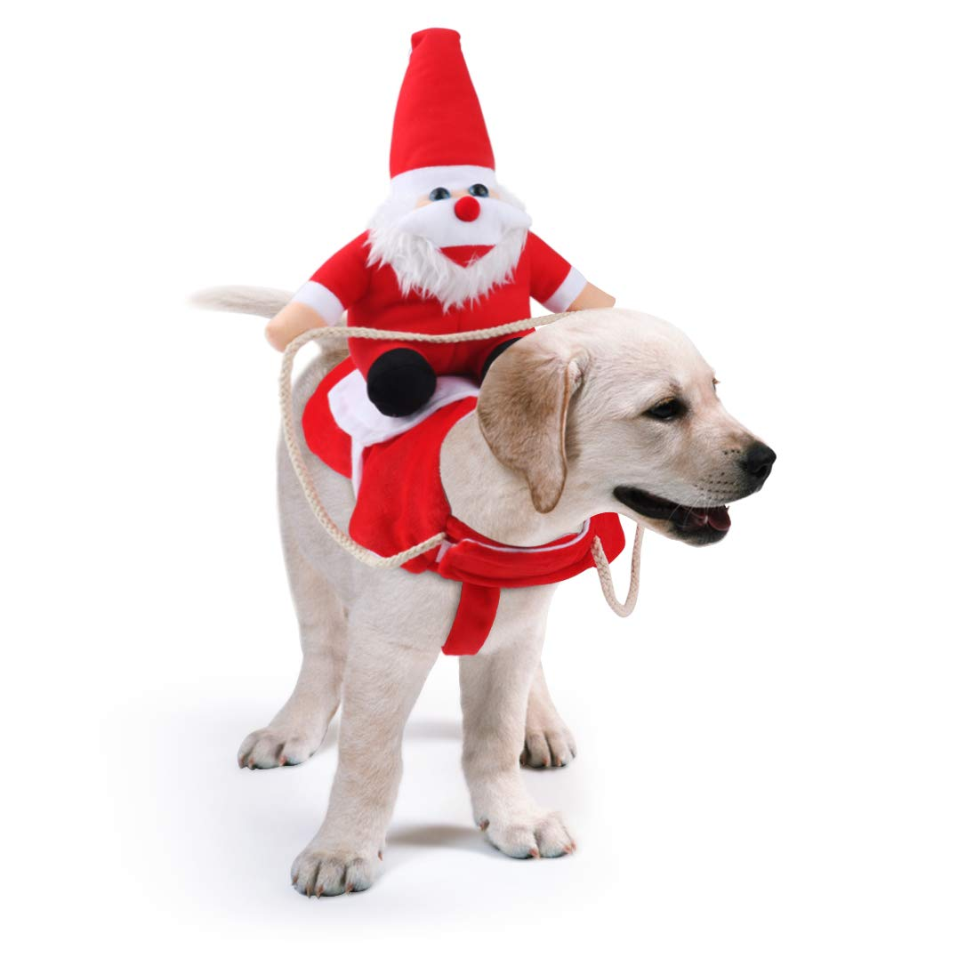 An adorable dog costume with Santa riding on his back.