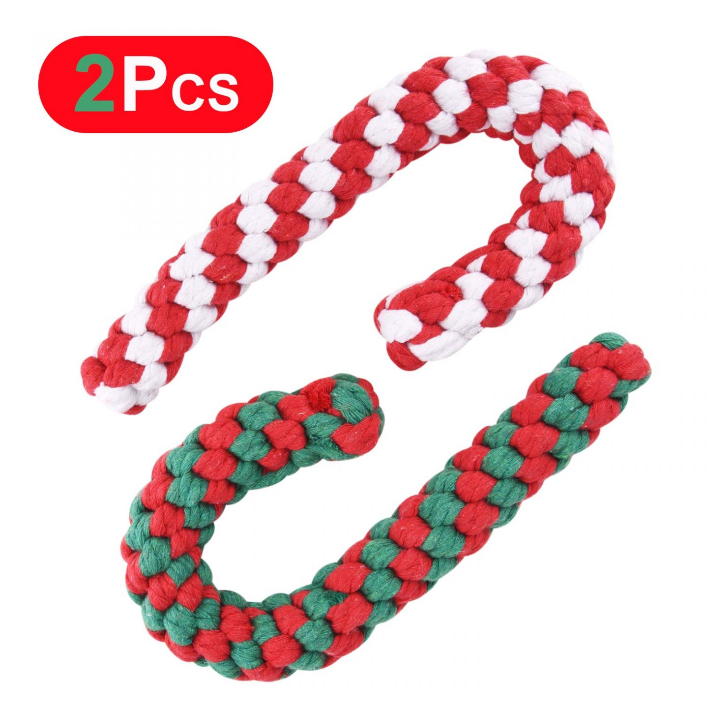 Two candy cane rope toys for dogs.