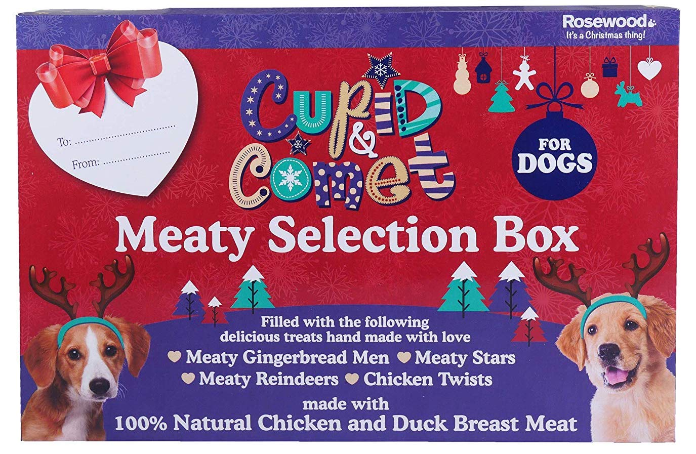 Stock image of a meaty selection box for dogs for my Christmas gifts for dogs guide.