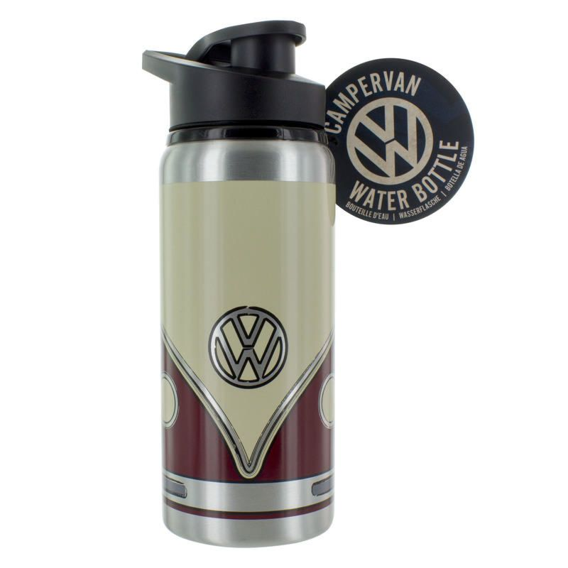 Stock image of a VW water bottle for my guide for Christmas camping gifts for campervan kids guide.