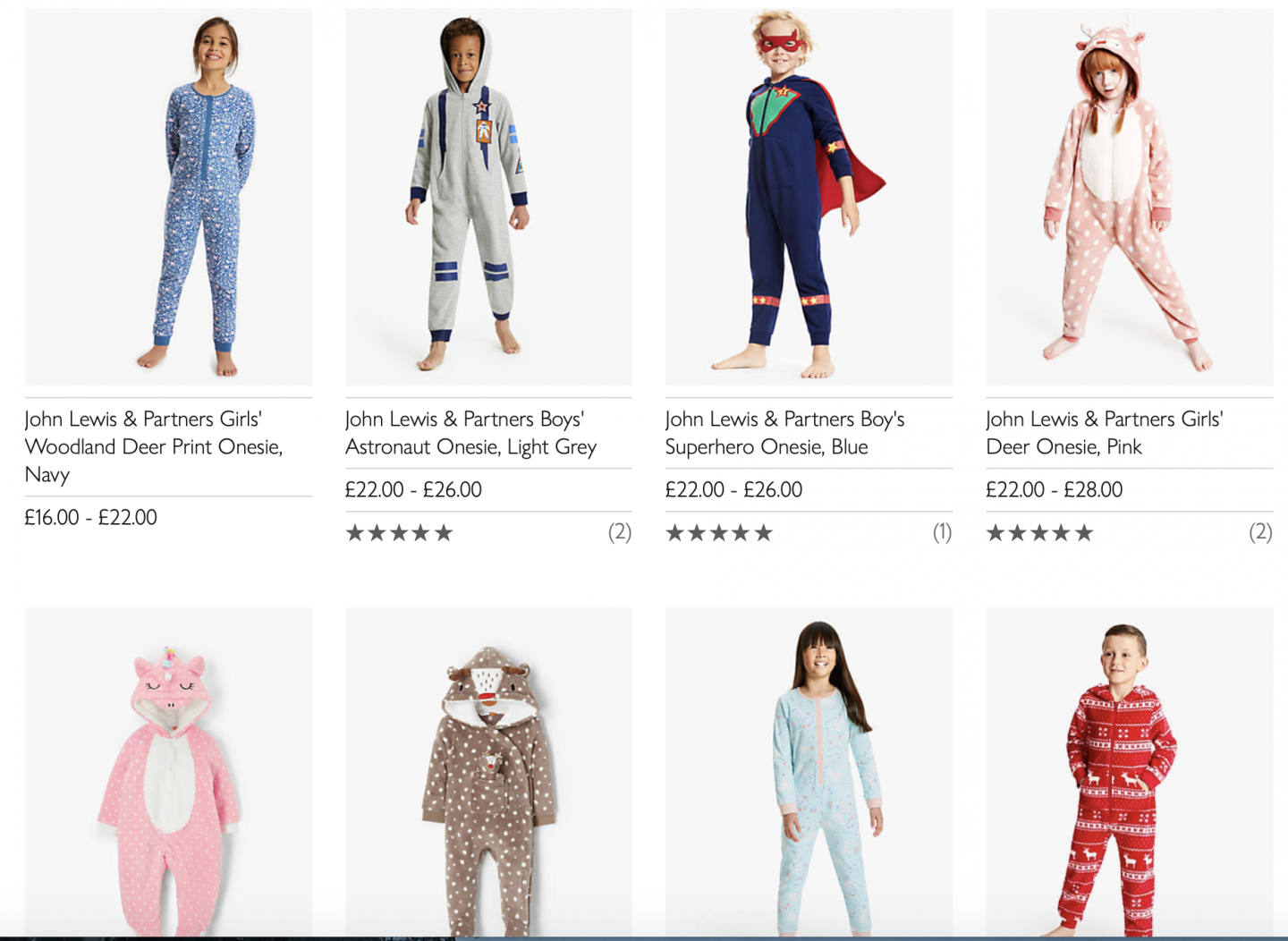 Screenshot from a website of a selection of onesies from the John Lewis website for my guide for Christmas camping gifts for campervan kids guide.